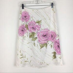 Ann Taylor LOFT 100% Linen White Pink Rose Skirt 2
